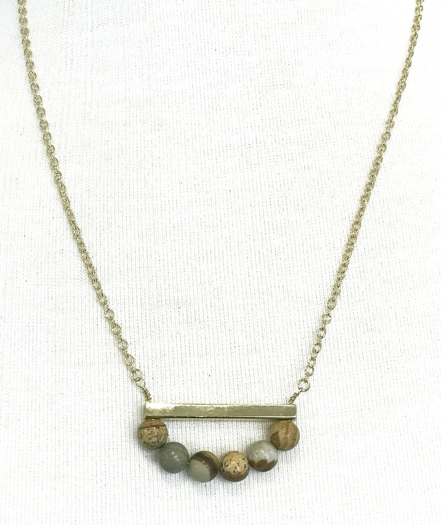 Natural Stone Beads and Gold Bar Necklace