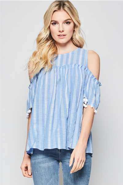 Blue Cold Shoulder Pom Pom Top - Creek & Co