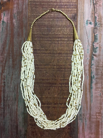 Ivory & Gold Beaded Necklace - Creek & Co