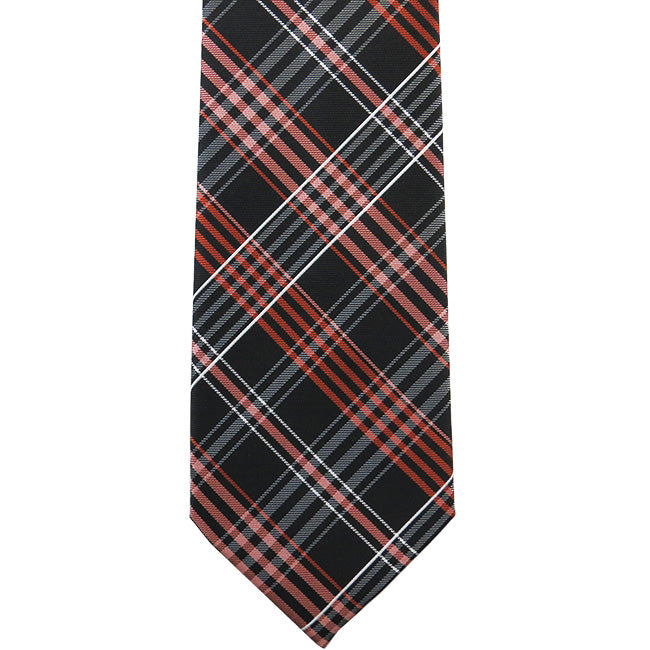 Orange and Black Plaid Necktie