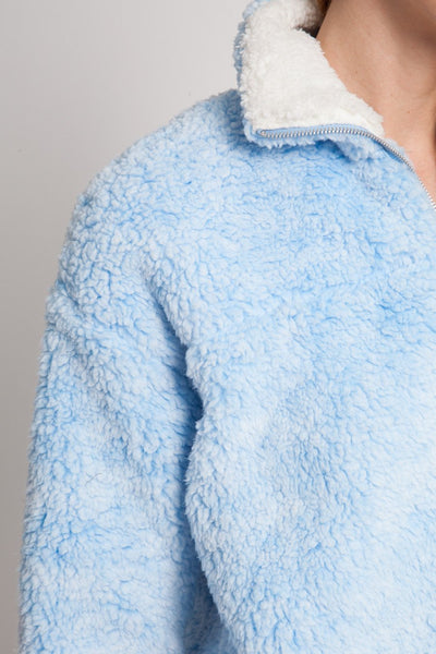Light Blue Faux Sherpa Pullover