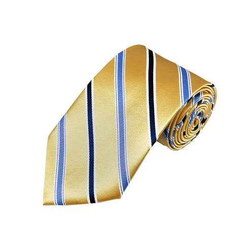 Gold and Blue Stripe Woven Necktie