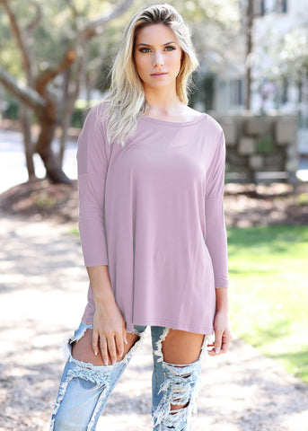 Lilac 3/4 Sleeve Piko - Creek & Co