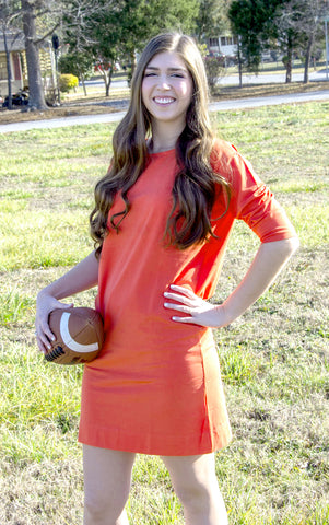 Orange 3/4 Sleeve Gameday Dress