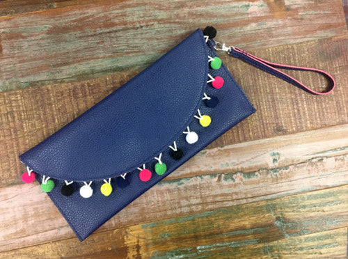Navy Pom Pom Clutch - Creek & Co