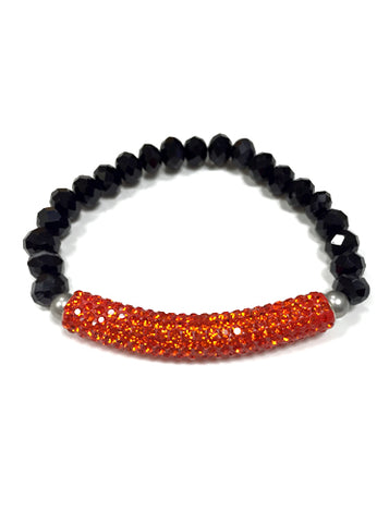 Orange Bar Stretchy Bead Bracelet