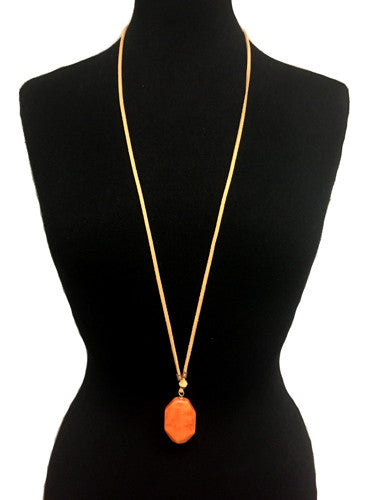 Adjustable Peach Pendant With Suede Necklace - Creek & Co