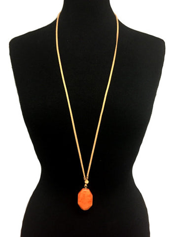Adjustable Peach Pendant With Suede Necklace
