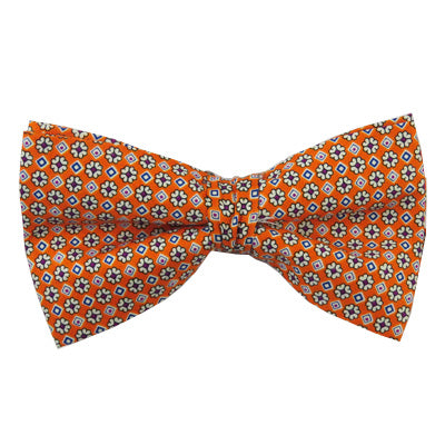 Orange Flowered Pre-Tied Bow Tie