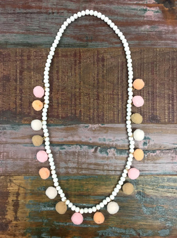 Peach Pom Pom & Wooden Bead Necklace