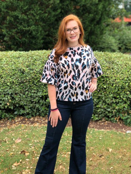 Pink Leopard Bubble Sleeve Top - Creek & Co