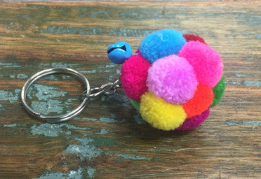 Pom Pom & Mini Jingle Bell Keychain