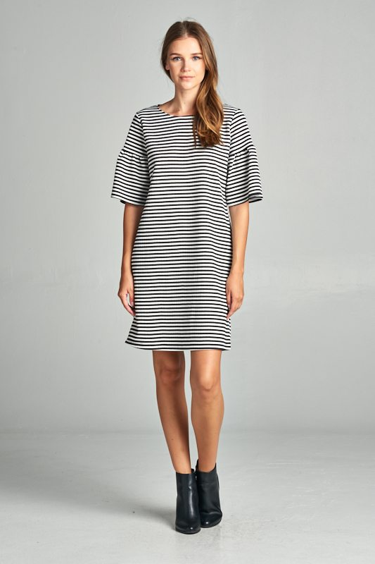 Striped Bell Sleeve Dress