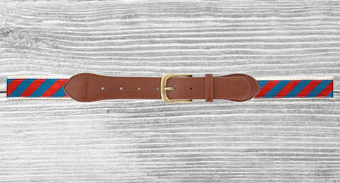 Men's Belt Red and Navy - Creek & Co