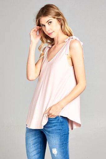 Pink Striped Bow Tank - Creek & Co