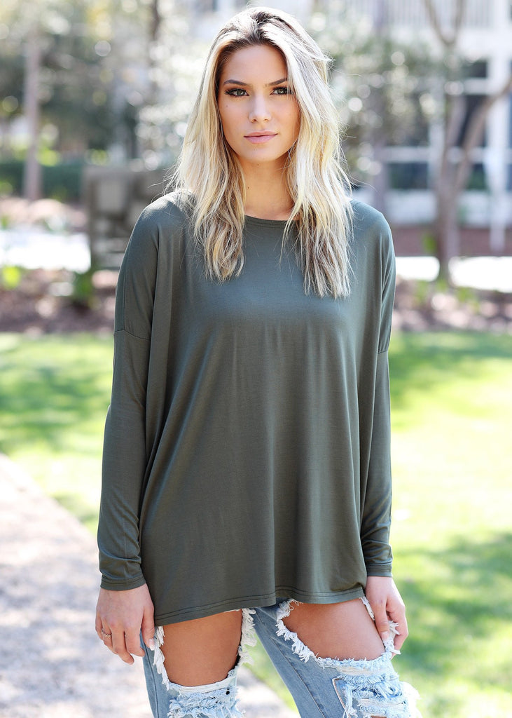 Olive Green Long Sleeve Piko