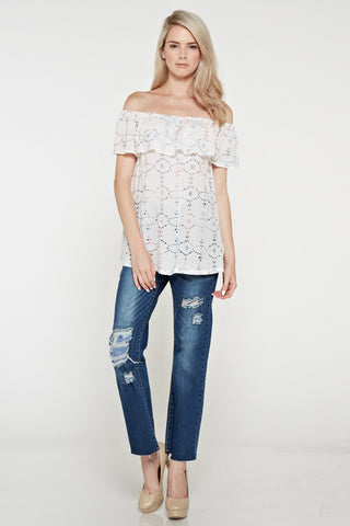 Multicolor Embroidery Off the Shoulder Top