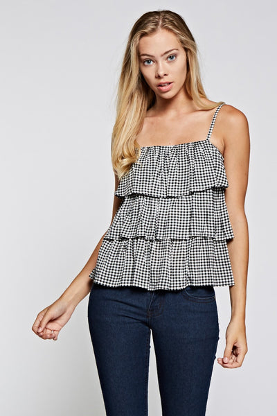 Gingham Tiered Cami Top