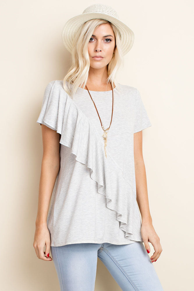 Heather Grey Ruffle Top