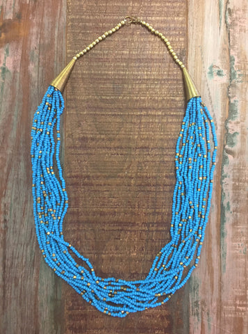 Turquoise & Gold Beaded Necklace - Creek & Co