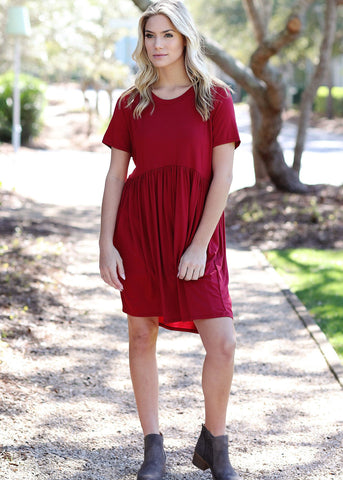 Red Baby Doll Piko Dress