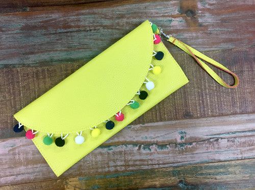 Yellow Pom Pom Clutch - Creek & Co
