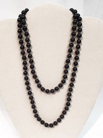Black Beaded Wrap Necklace