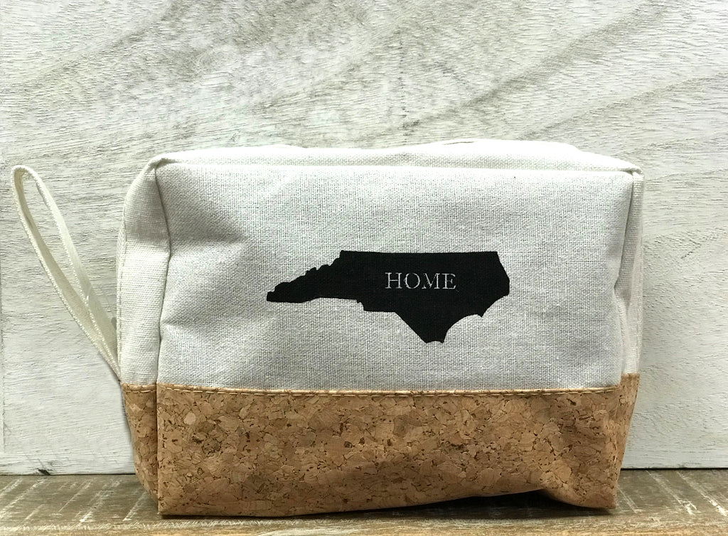 NC Cosmetic Canvas and Cork Bag