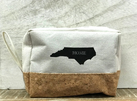 NC Cosmetic Canvas and Cork Bag - Creek & Co