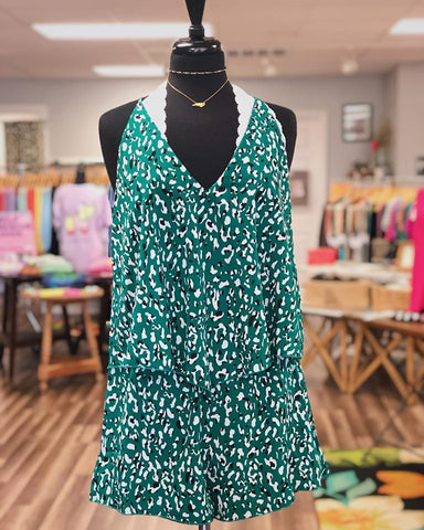 Green Leopard Print Romper - Creek & Co