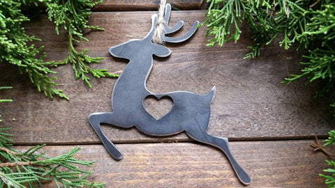 Reindeer Rustic Steel Ornament