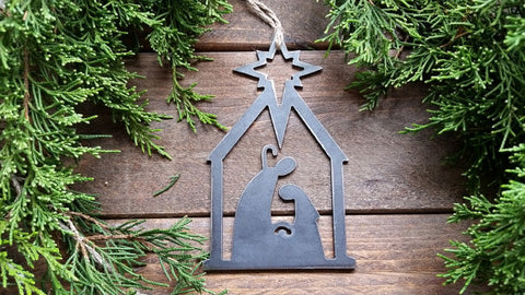 Nativity Scene Rustic Steel Christmas Ornament