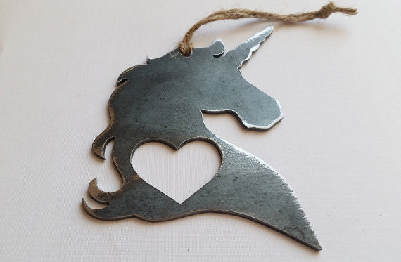 Unicorn Rustic Steel Ornament - Creek & Co