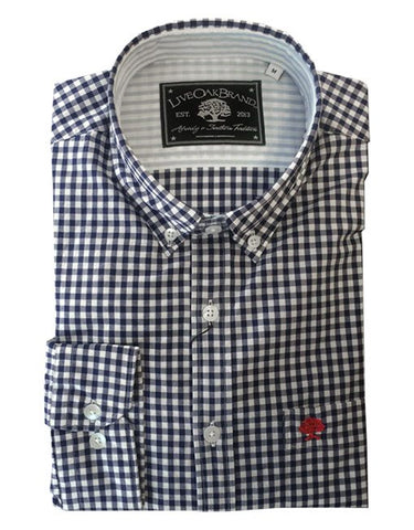 Live Oak Navy Gingham Dress Shirt