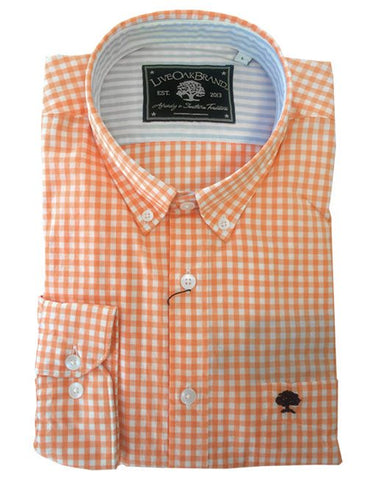 Live Oak Orange Gingham Dress Shirt