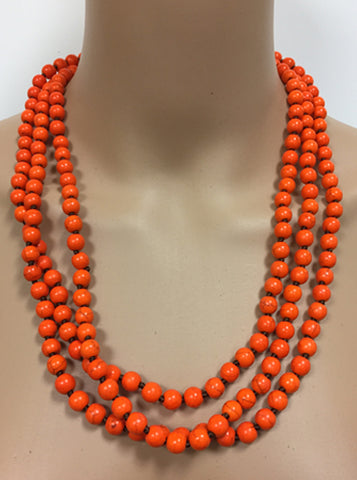 Orange Beaded Wrap Necklace - Creek & Co
