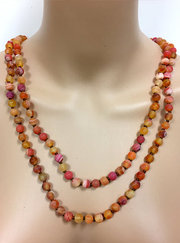 Multi Orange Beaded Wrap Necklace