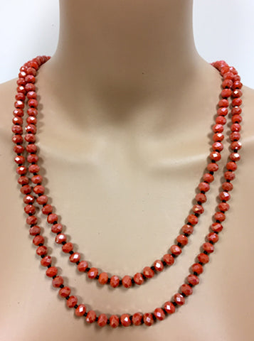 "60"" Orange Shimmer Crystal Necklace"
