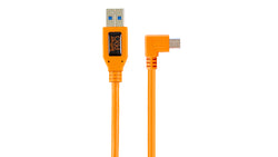 "TetherPro USB 2.0 to Mini-B 5-pin Right Angle Adapter ""Pigtail"", 20"" (50cm), High-Visibilty Orange"