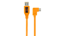 "TetherPro USB 3.0 to USB-C Right Angle Adapter ""Pigtail"" Cable, 20"" (50cm), High-Visibilty Orange"