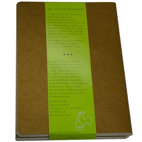 Hahnemuhle - Travel Booklet Large Kraft Cover Pack/2, 13.5 x 21cm