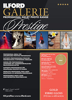"Prestige Gold Fibre Gloss - 13""x19"", 25 sheets"