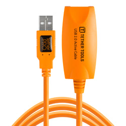 TetherPro USB 2.0 to USB Female Active Extension, 16 (5m), High-Visibility Orange