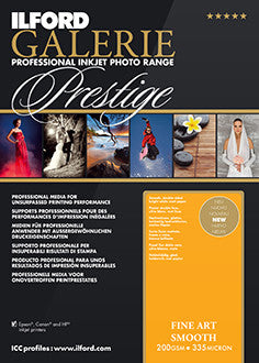 "Prestige Fine Art Smooth 200gsm -13""x19"", 25 sheets (Special Order)"