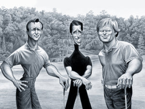 BIG THREE: TRIBUTE TO PALMER, PLAYER AND NICKLAUS - Fine Art Giclée print in 3 sizes - framed or unframed