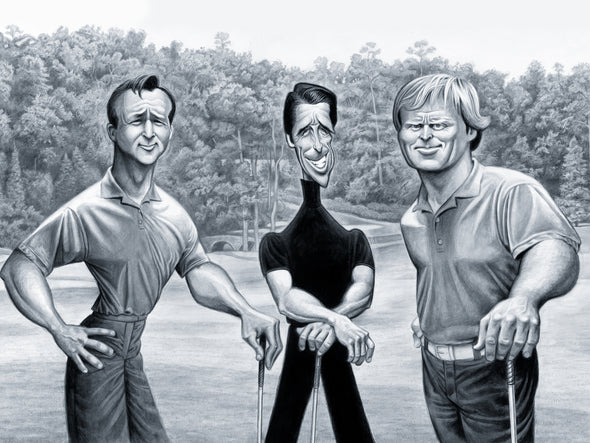 Big Three: Tribute to Palmer, Player and Nicklaus | Giclée Print or Poster| Gifts for Golfers