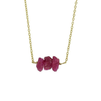 Collier Suberoque Triple Rubis Naturel Argent 925 Rhodié Or Jaune