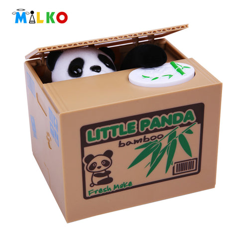 Mischief saving box panda funny toy joke automatic electric stole coin fun useless box piggy bank lizunov trick antistress gift