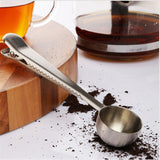 1 pc Multifunction Stainless Steel Coffee Scoop  With Clip Coffee Tea Measuring Scoop 1Cup Ground Coffee Measuring Scoop Spoon