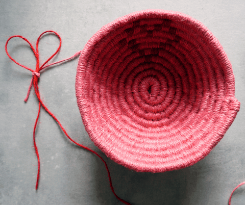 la basketry twine basket kit pink basket with a red heart